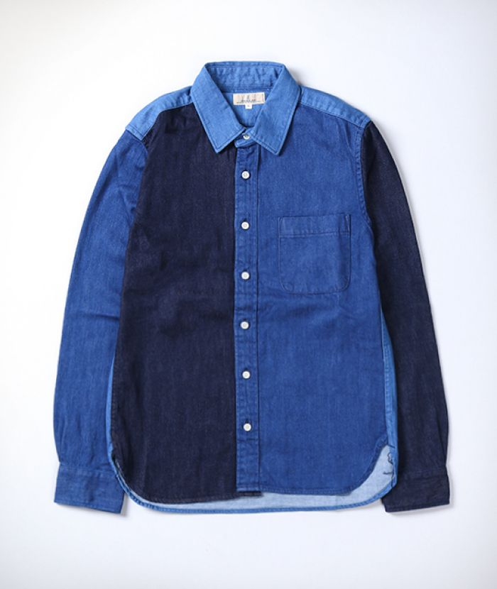 J3582J01 Crazy Denim Shirt 8oz uneven thread denim